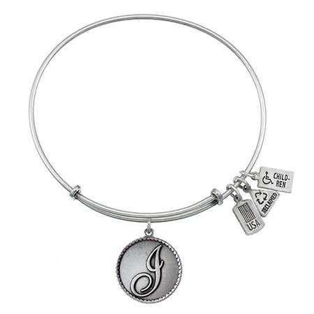 Wind & Fire Letter I Initial Charm Bangle Bracelet