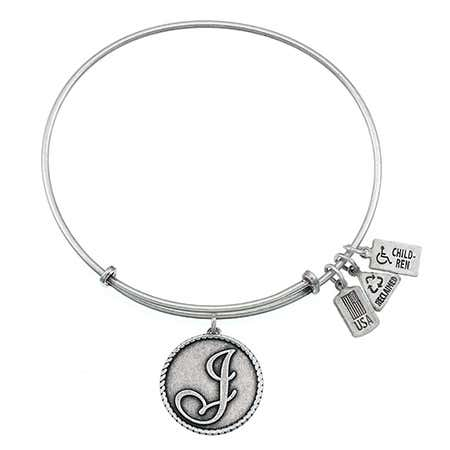 Wind & Fire Letter J Initial Engravable Charm Bangle Bracelet