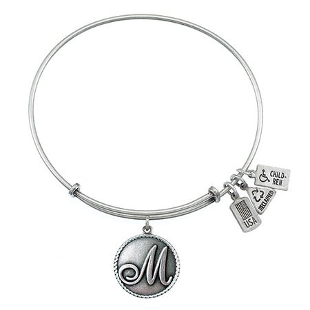 Wind & Fire Letter M Initial in Scripted Font Charm Bracelet | Eve's Addiction®