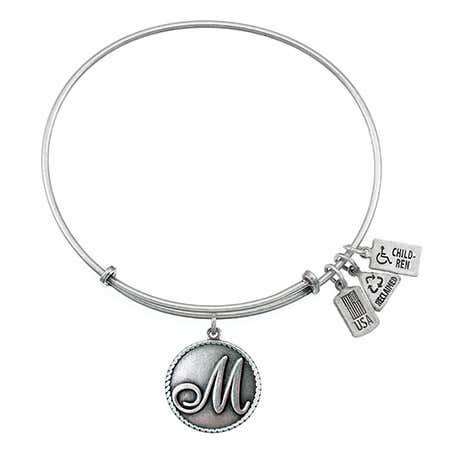 Wind & Fire Letter M Initial in Scripted Font Charm Bracelet