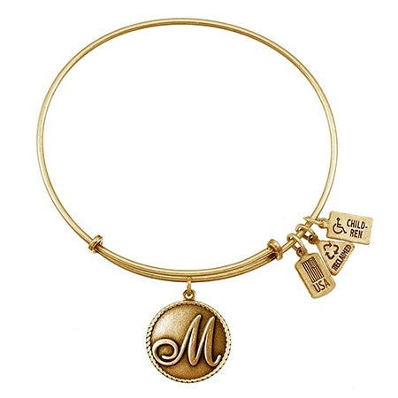Letter M Initial Charm Gold Bangle Bracelet by Wind & Fire | Eve's Addiction®