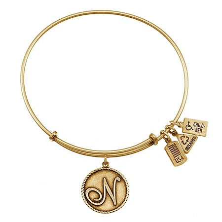 Customizable N Initial Round Tag Gold-Plated Bangle Bracelet | Eve's Addiction®