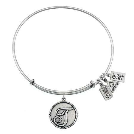 Wind & Fire Initial T Engravable Round Charm Bangle Bracelet