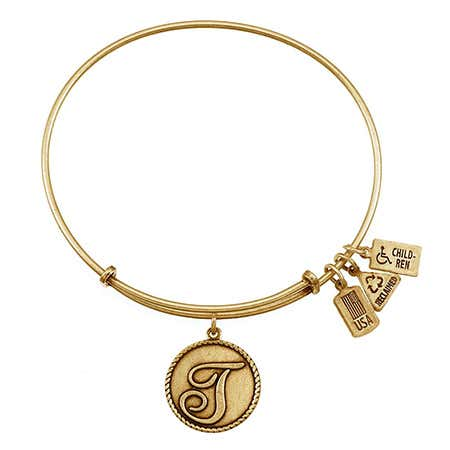 "Letter T Initial 3/4"" Dangling Round Charm Gold Bangle"