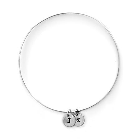 2 Initial Silver Bangle Bracelet - Hand Stamped | Eve's Addiction®