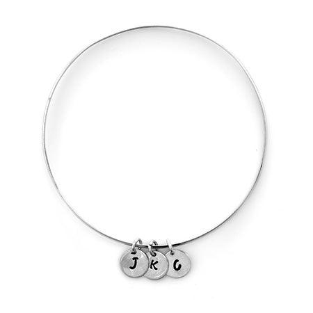 Custom Hand Stamped 3 Mini Initial Bracelet in Silver