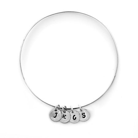4 Initial Hand Stamped Charm Bangle in Sterling Silver