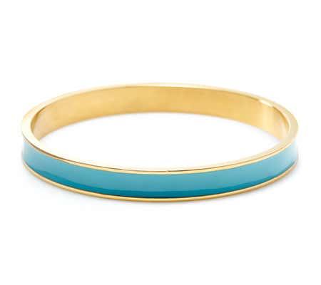 Thin Enamel Turquoise and Gold Bangle