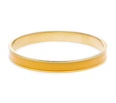 Thin Enamel Orange and Gold Bangle