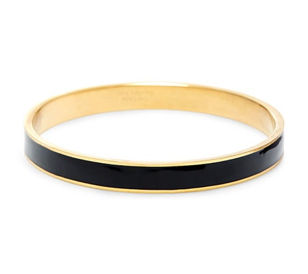 Thin Enamel Black and Gold Bangle