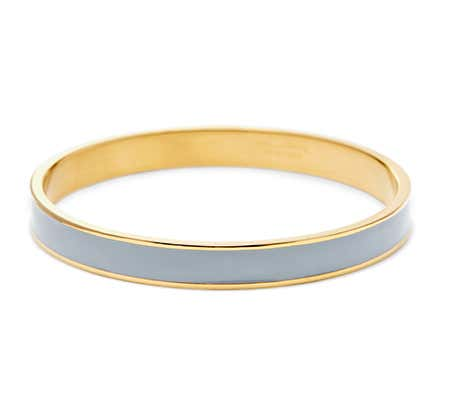 Thin Enamel Grey and Gold Bangle