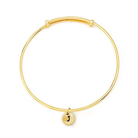 Hand Stamped Mini Initial Gold Bangle Bracelet
