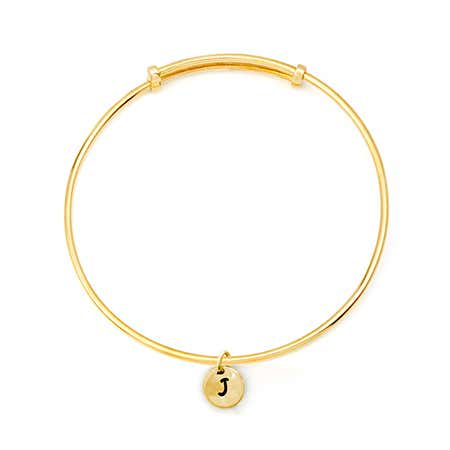 Hand Stamped Mini Initial Gold Bangle Bracelet