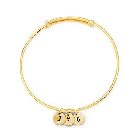 Hand Stamped Mini Three Initial Gold Bangle Bracelet