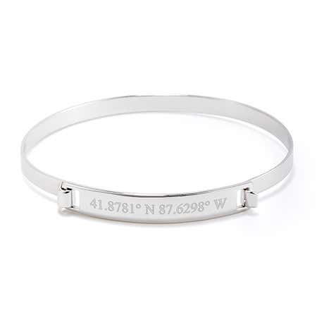 Custom Silver Coordinate Bangle Bracelet | Eves Addiction