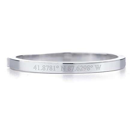 Custom Coordinate Baby Silver Bangle Bracelet
