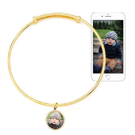 Custom Photo Bracelet With Gold Bezel Frame