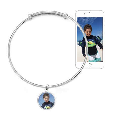 Silver Custom Photo Bangle Bracelet With Bezel Frame