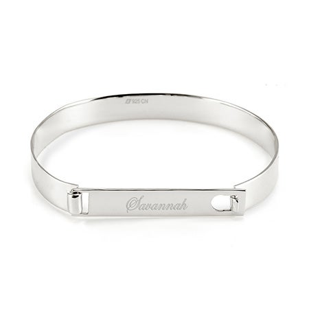 Sterling Silver ID Bangle Bracelet | Eve's Addiction