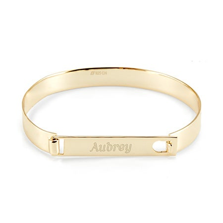 Gold Name Engraved ID Bangle Bracelet | Eve's Addiction