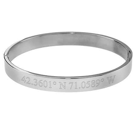 Personalized Custom Coordinate Steel Bangle Bracelet 8mm's