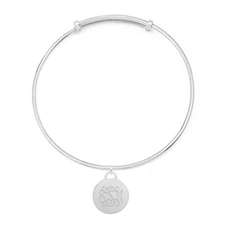 Monogram Round Tag Adjustable Sterling Silver Bracelet