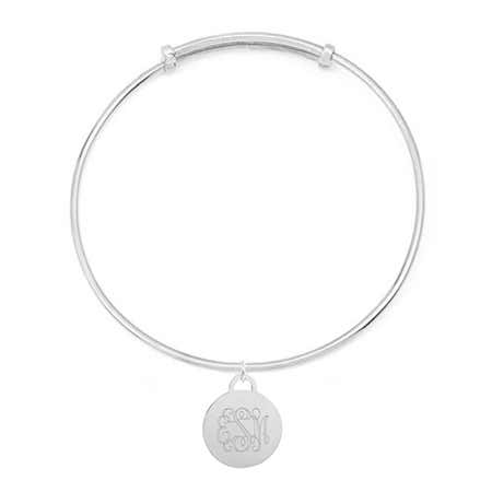 display slide 1 of 4 - Monogram Round Tag Adjustable Sterling Silver Bracelet - selected slide