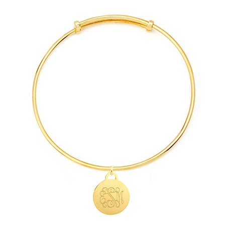 Personal Monogram Round Tag Adjustable Gold Bangle Bracelet