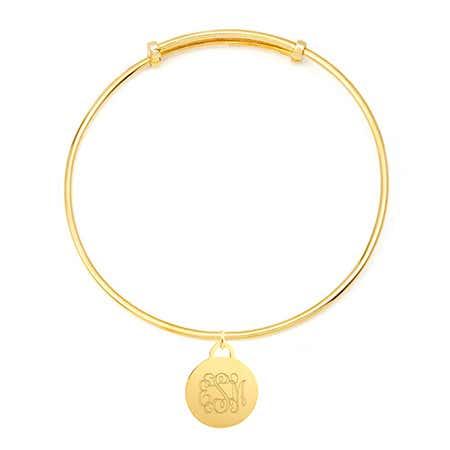 Personal Monogram Round Tag Adjustable Gold Bangle Bracelet