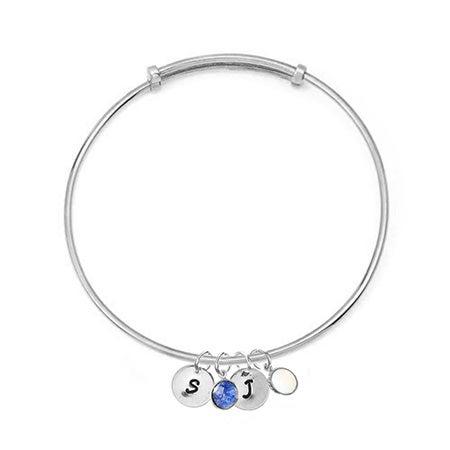 Custom Dangle Initials Birthstones Silver Bangle Bracelet