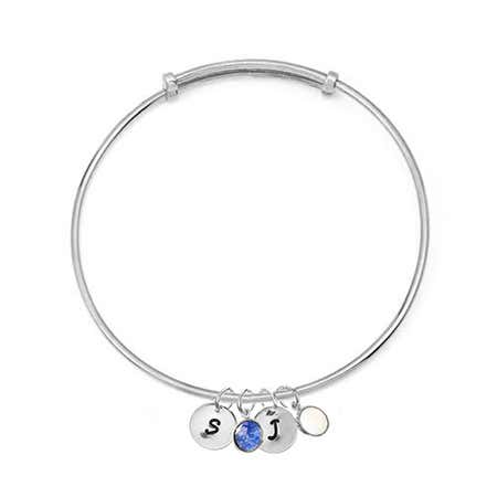 display slide 1 of 4 - Custom Dangle Initials Birthstones Silver Bangle Bracelet - selected slide
