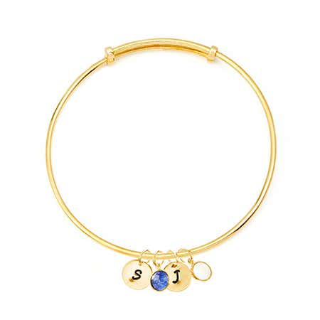 Custom Dangle Initials Birthstones Gold Bangle Bracelet