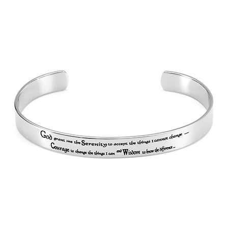 Women's Stainless Steel Serenity Prayer Cuff Bracelet