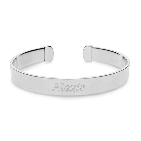 Engravable Plain Style Stainless Steel Cuff Bracelet