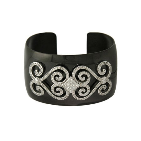 Designer Inspired Glamorous CZ Black Cuff Bracelet | Eve's Addiction®