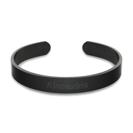 Stainless Steel Engravable Black Plate Cuff Bracelet | Eve's Addiction®
