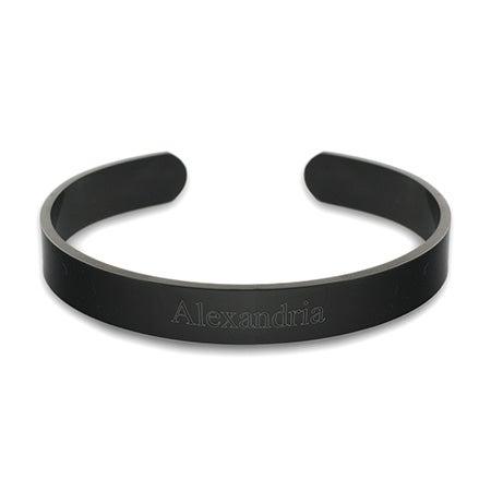 Stainless Steel Engravable Black Plate Cuff Bracelet | Eve's Addiction®
