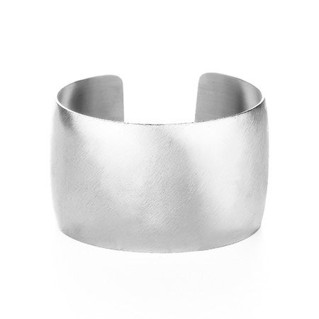 Silver Steel Wide Cuff Bracelet with Brushed Finish | Eve's Addiction®