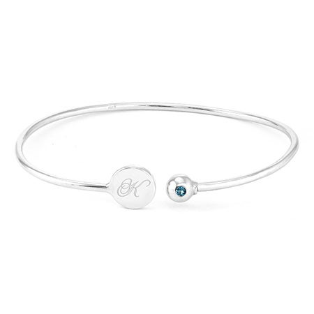 Engravable Birthstone Signet Sterling Silver Cuff Bracelet | Eve's Addiction®