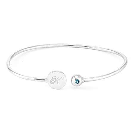 display slide 1 of 6 - Engravable Birthstone Signet Sterling Silver Cuff Bracelet - selected slide