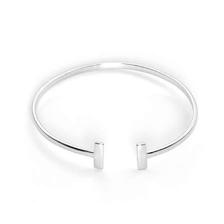 Double Open Bar Sterling Silver Cuff Bracelet