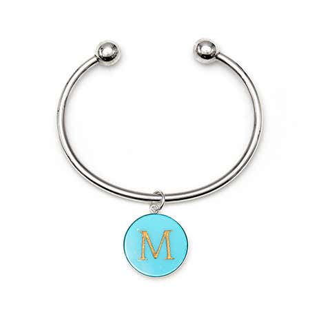Acrylic Initial Charm Sterling Silver Cuff Bracelet