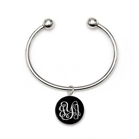 Custom Monogram Acrylic Charm Cuff Bracelet in Sterling Silver | Eve's Addiction®