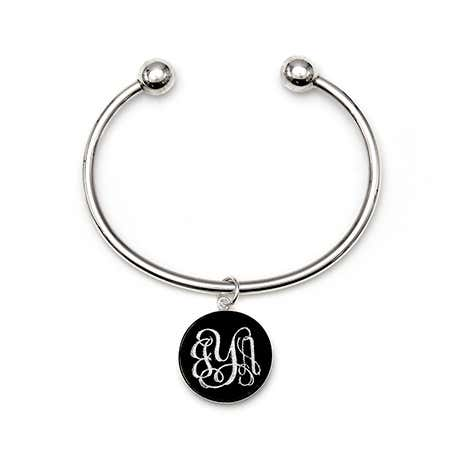 Custom Monogram Acrylic Charm Cuff Silver Bracelet