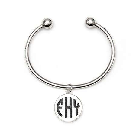 Acrylic Block Monogram Silver Cuff Bracelet
