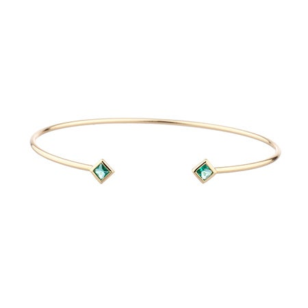 Rhyan Open Cuff Bangle in Emerald by Shashi   Eve's Addiction®