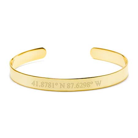 Custom Coordinate Gold Cuff Bracelet