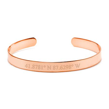 Custom Coordinate Rose Gold Cuff Bracelet