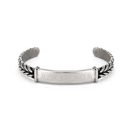 Custom Coordinate Braided ID Cuff Bracelet