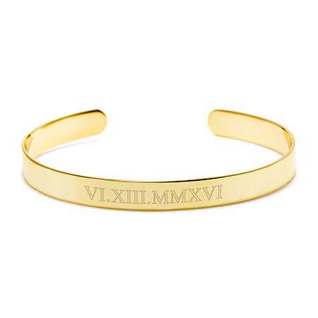Roman Numeral Date Gold Cuff Bracelet